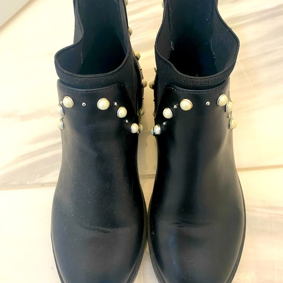 Zara Girl Black Ankle Boots with Buckle Cotton Lining 9